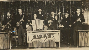 Blanchard's orchestra with female accordion artist Mae Stoekel.